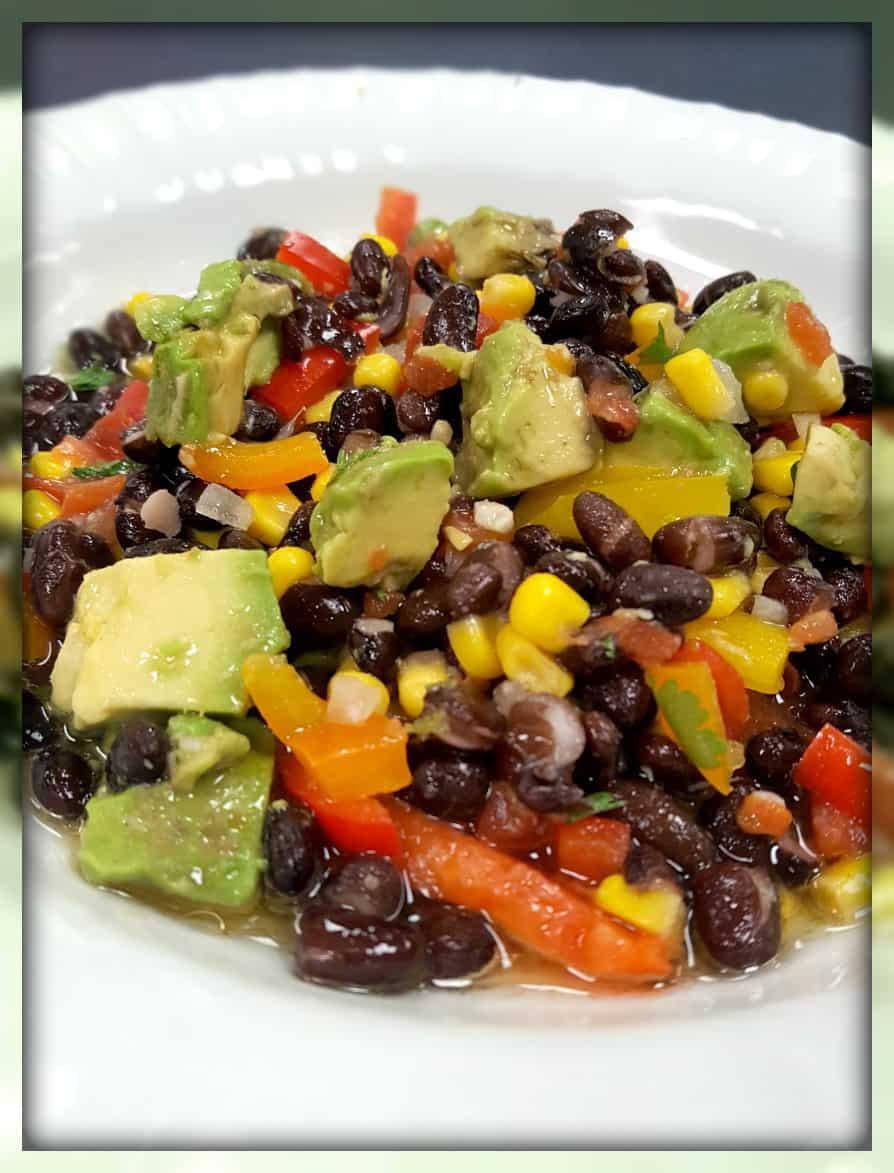 February Pinterest Challenge Black Bean Salad from www.thisautoimmunelife.com  #healthy #superbowl #recipe #blackbeans