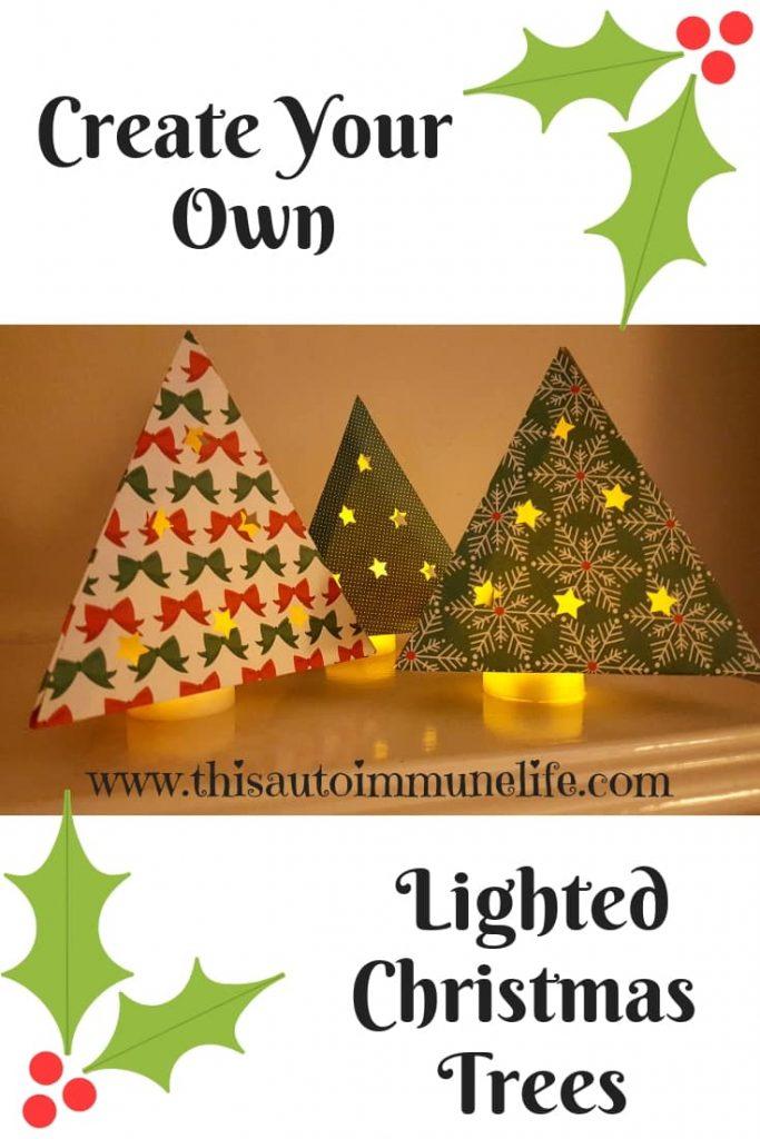 DIY Lighted Christmas Trees from www.thisautoimmunelife.com #Christmas #Cricut #Tree