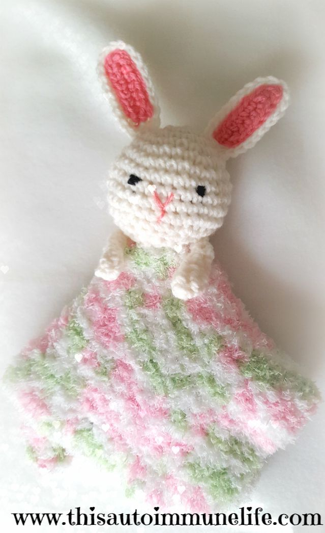 Crocheted Bunny Lovey from www.thisautoimmunelife.com for the March Pinterest Challenge #lovey #bunny #crochet