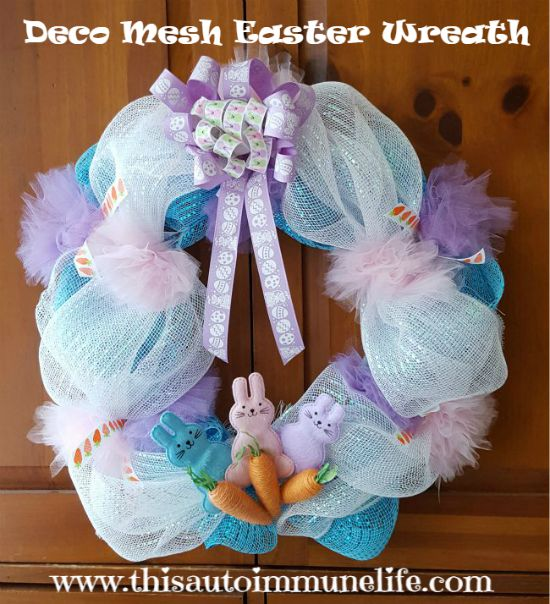 Deco Mesh Easter Wreath for March Craft Destash Challenge www.thisautoimmunelife.com #Easter #Wreath #DecoMesh #DIY