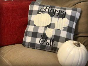 Buffalo Plaid Happy Fall Pillow from www.thisautoimmunelife.com #happyfall #buffaloplaid #pillow