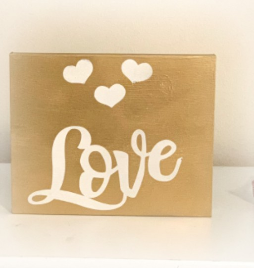 Dollar Store Golden Love Sign from www.thisautoimmunelife.com #dollarstore #craft #sign