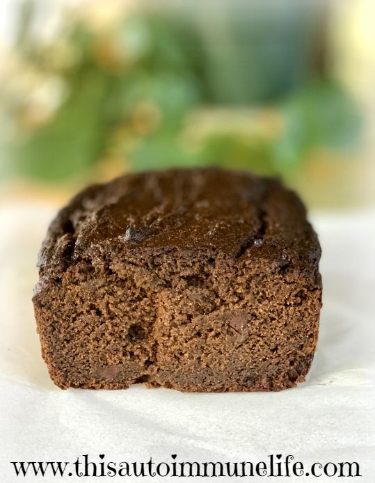 Gluten Free Sugar Free Chocolate Pumpkin Bread from www.thisautoimmunelife.com #pumpkinbread #glutenfree #sugarfree #fall #chocolatepumpkinbread