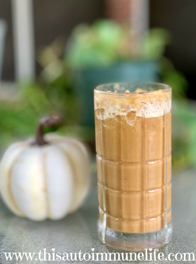 Pumpkin Spice Frappuccino from www.thisautoimmunelife.com #pinterestchallenge #pumpkinspice #frappuccino #healthy