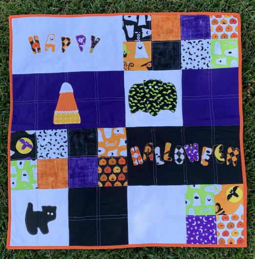 Quilt As You Go Halloween Quilt from www.thisautoimmunelife.com #pinterestchallenge #Halloween #Quilt