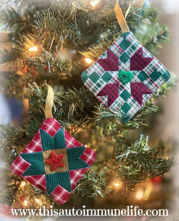Quilted Christmas Ornament from www.thisautoimmunelife.com #Christmas #Quilting #Ornament