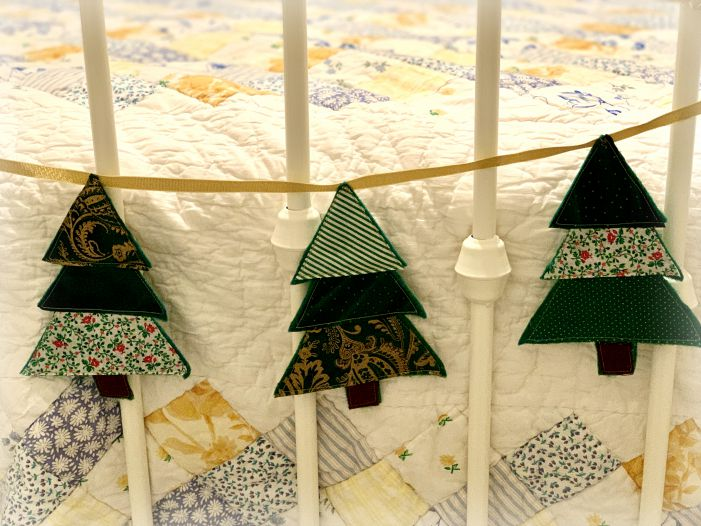 Fabric Scrap Christmas Tree Garland from www.thisautoimmunelife.com #pinterestchallenge #christmas #fabricscraps #ChristmasTree #ChristmasGarland