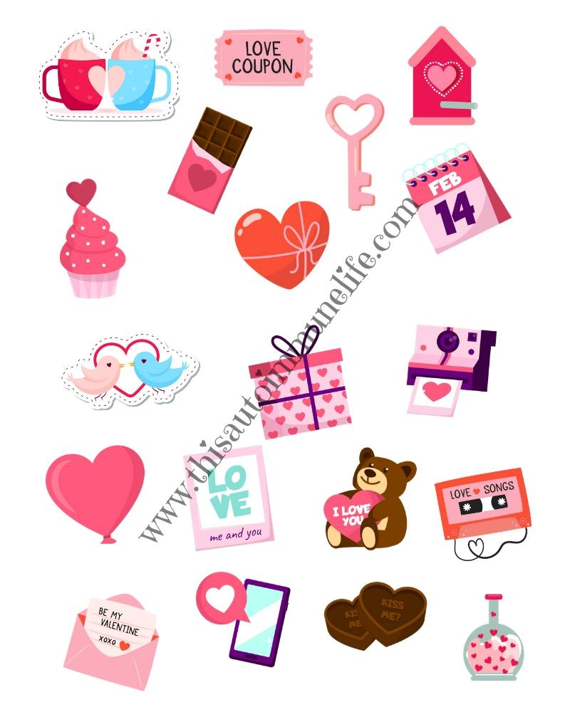 Valentine's Day Stickers 2020 from www.thisautoimmunelife.com #ValentinesDay #stickers #free