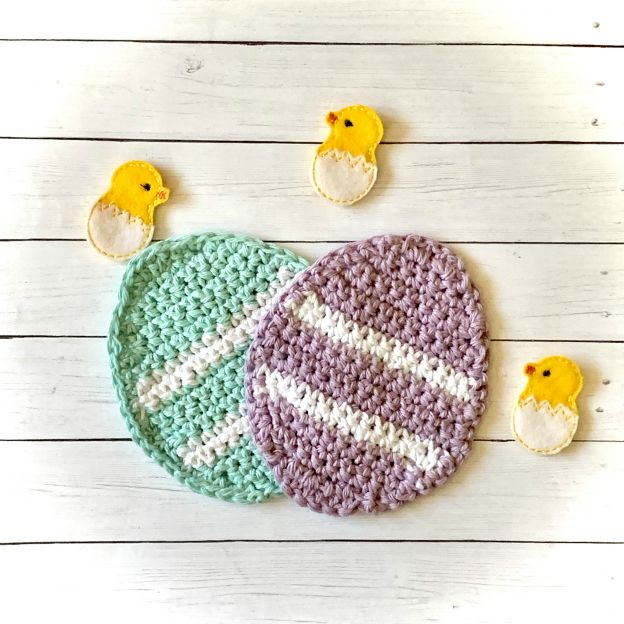 Crocheted Easter Egg Coasters from www.thisautoimmunelife.com #Easter #crochet #coasters #EasterEgg #DIY