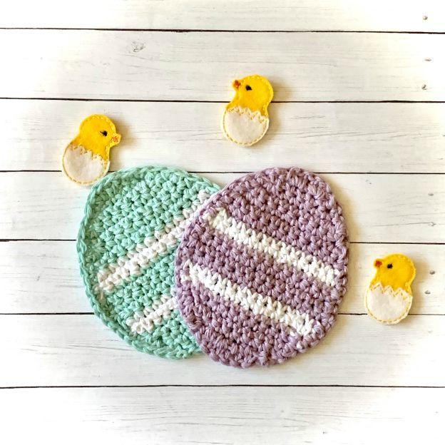 Crocheted Easter Egg Coasters from www.thisautoimmunelife.com #Easter #crochet #coasters #EasterEgg #DIY